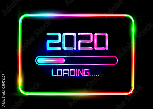 Happy new year 2020 with loading icon blue neon style Tablou Canvas