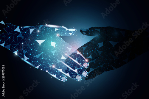 Fotografía  Vector polygon design of business partners holding hands with trust commitment for reach successful achievement