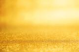 Fototapeta Kawa jest smaczna - Gold New year background abstract, Yellow glitter bokeh vintage lights, defocused.