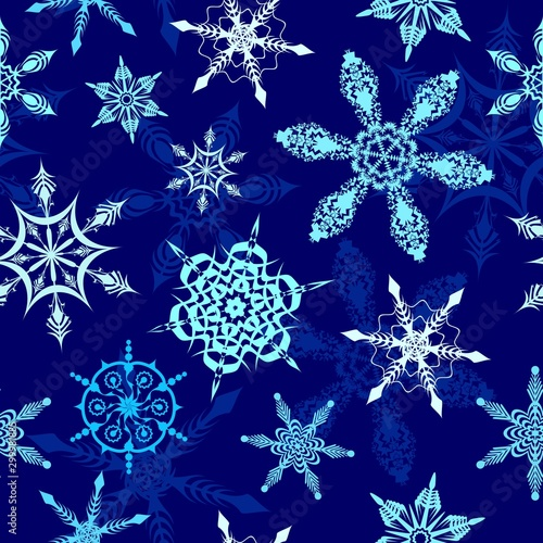Tuinposter Draw Snowflakes on Winter Blue Night Background Vector Seamless Pattern