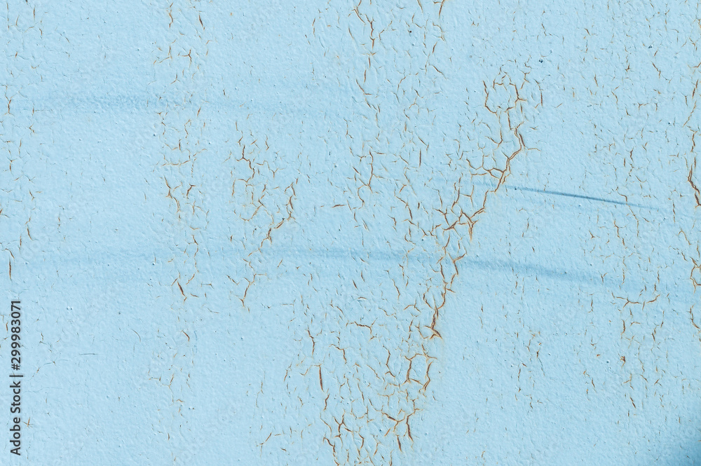 Fototapety, obrazy: Light blue faded. Texture of stained metal surface with cracked paint with cracked paint. Finely detailed background