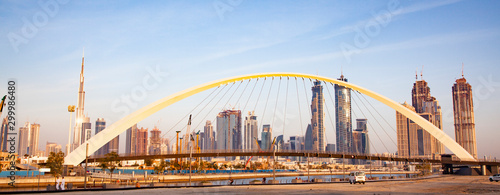 colorful sunset over Dubai Downtown skyscrapers and the newly built Tolerance br Canvas Print
