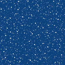 Snowflakes Seamless Pattern. Christmas Blue Background. Snowfall Repeat Backdrop. Winter Snow Flake Falling Flat Design. Snowy Simple Chaotic Texture. Blizzard Sky Template Vector Illustration