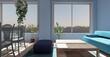 Blue living room. 3D render.