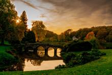 Sunset By The Autumn Lake Stourhead