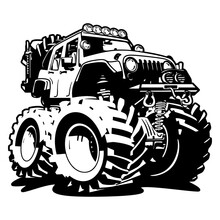 4x4 Off Road Black And White Isolated Vector Illustration