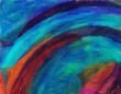 Leinwandbild Motiv Abstract painting graphic fractal art. Creative template for decor backgrounds of covers, web banners, invitations or cards. Surreal bright print in digital oil and acrylic mixed impressionism style.