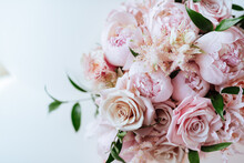 Fluffy Pink Peonies Flowers Background Copy Space