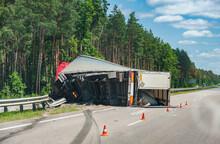 Rollover Truck On Autobahn
