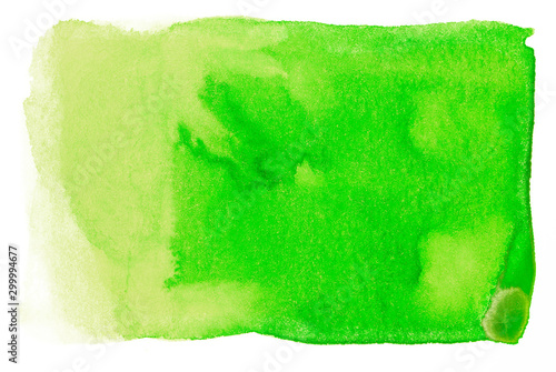 watercolor stain element green on a white background isolated