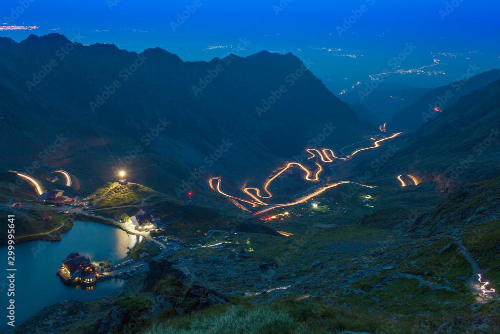Fototapety, obrazy: mountain road at night. Transfagarasan, Romania