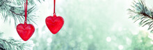 Two Red Hearts Glass Decoratio...