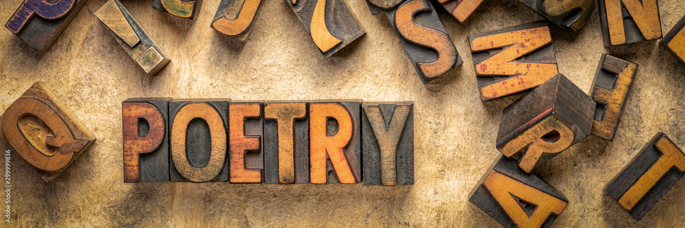 poetry word abstract in wood type <span>plik: #299999836 | autor: MarekPhotoDesign.com</span>
