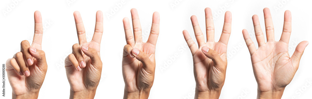 Fototapeta  five fingers count signs isolated on white background with Clipping path included. Communication gestures concept