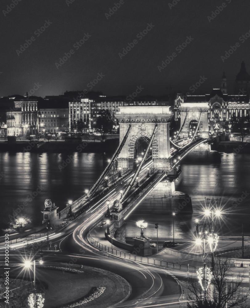 Fototapeta Széchenyi Chain Bridge illuminated at night in Budapest, Hungray black and white shot
