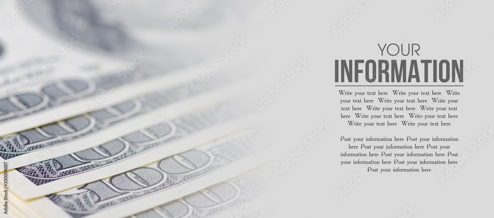 Fototapety, obrazy: Dollars money cash finance macro blur background, space for text