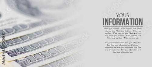 Foto auf Gartenposter Makrofotografie Dollars money cash finance macro blur background, space for text