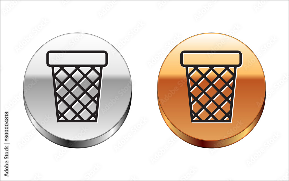 Fototapeta Black line Trash can icon isolated on white background. Garbage bin sign. Recycle basket icon. Office trash icon. Silver-gold circle button. Vector Illustration