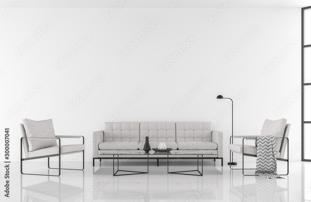 Fototapeta Minimal style modern white living room 3d render,decorate with white fabric and black metal furniture