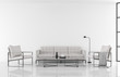 Leinwanddruck Bild - Minimal style modern white living room 3d render,decorate with white fabric and black metal furniture