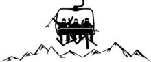Chairlift Ski Mountain Vector Silhouette