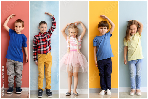 Collage of photos with little children measuring height near walls
