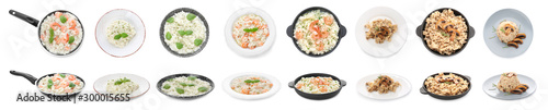 Collage with tasty risotto on white background