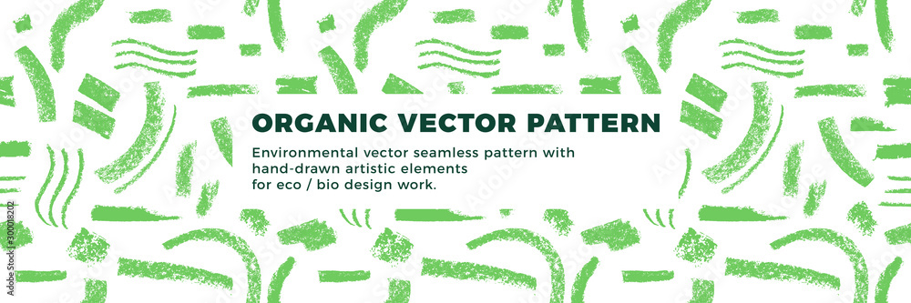Fototapeta Organic seamless pattern vector background. Hand drawn natural elements with organic texture.  Eco friendly design, vector vegan icons, raw logo, eco farming banner template, healthy food emblem.