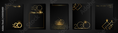 Fototapeta set cards 2020 Happy New Year gold texture, golden luxury black modern background, elements for calendar and greetings card or Christmas themed winter holiday invitations with geometric decorations obraz