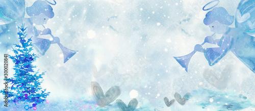 Fototapeta Watercolor christmas angels. Design element obraz
