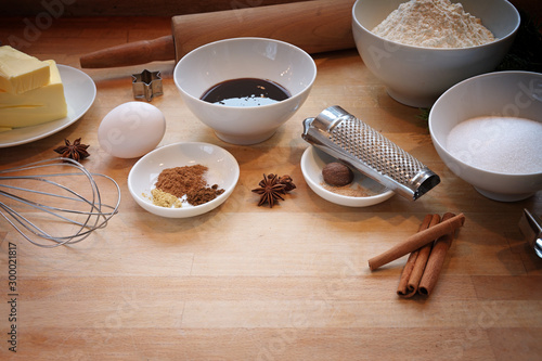 Photo Ingredients for baking gingerbread cookies, traditional homemade pastry in the C