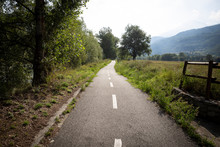 Velodoire Bicycle Path Close To Les Iles Nature Reserve, Brissogne, Aosta Valley, Italy