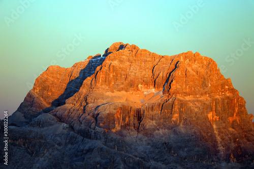 Keuken foto achterwand Lichtblauw Alpine autumn landscape in the Ampezzo Dolomites, Italy