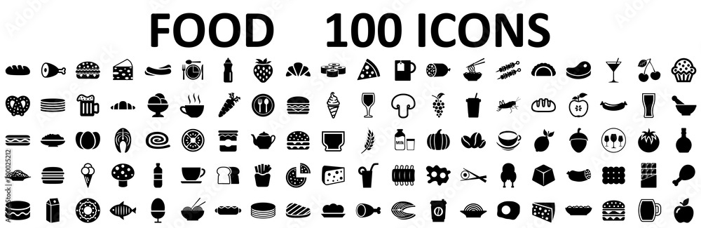 Fototapety, obrazy: Food set 100 icons for menu, infographics, design elements – stock vector