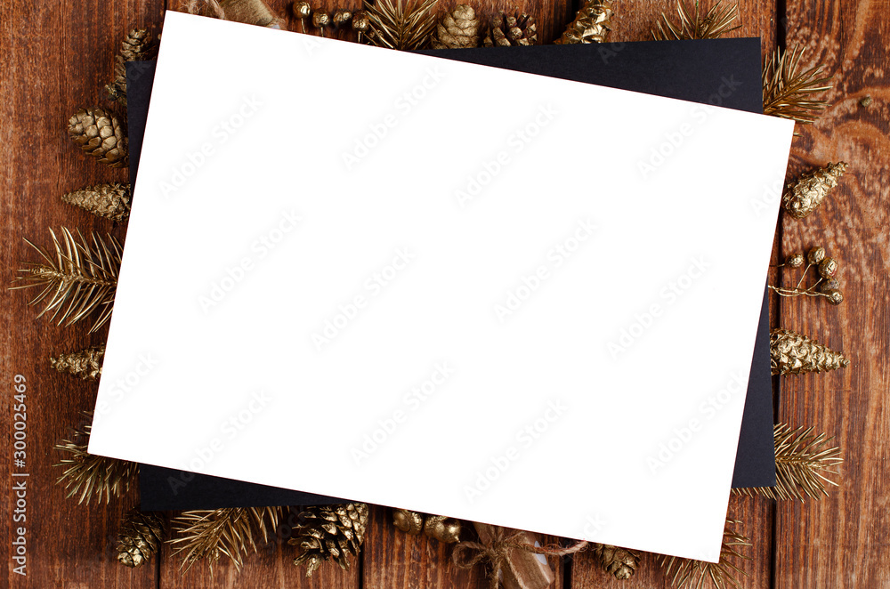 Fototapety, obrazy: Christmas and New Year festive golden ornament on wooden background. Greeting card. Copy space, overhead