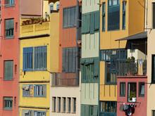 Colorful Facade Detail. Girona City, Catalonia.