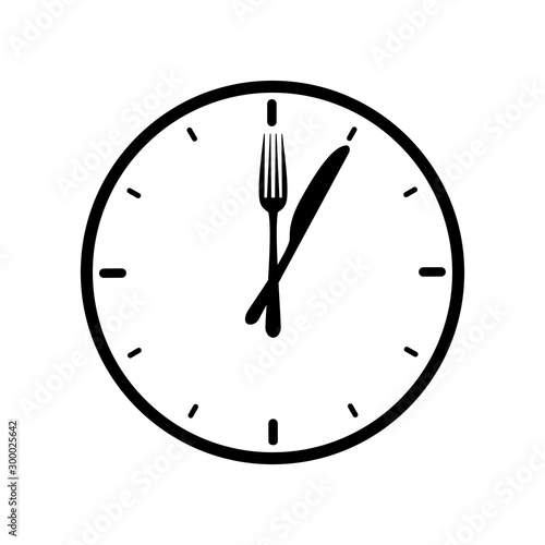 Leinwand Poster Dinner icon with with clock, knife and fork – stock vector