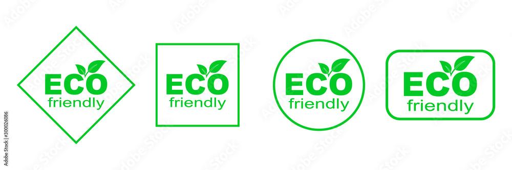 Fototapeta Set of green ECO stickers. Eco Friendly Environment