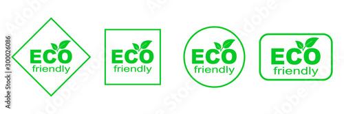 Obraz Set of green ECO stickers. Eco Friendly Environment - fototapety do salonu
