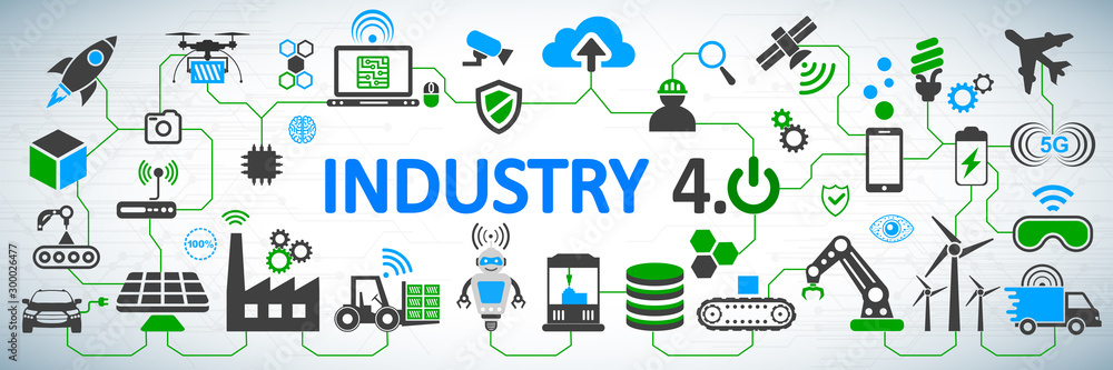 Fototapety, obrazy: Industry 4.0 infographic concept factory of the future – vector for stock