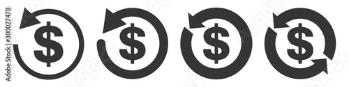Fototapeta Set of vector refund money icons isolated.
