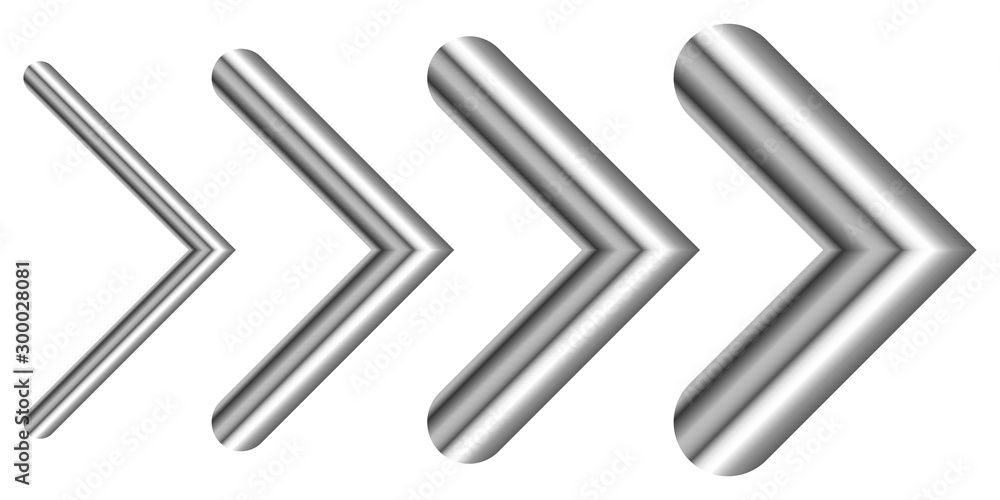 Fototapety, obrazy: Set of metal arrows of different thicknesses - vector.