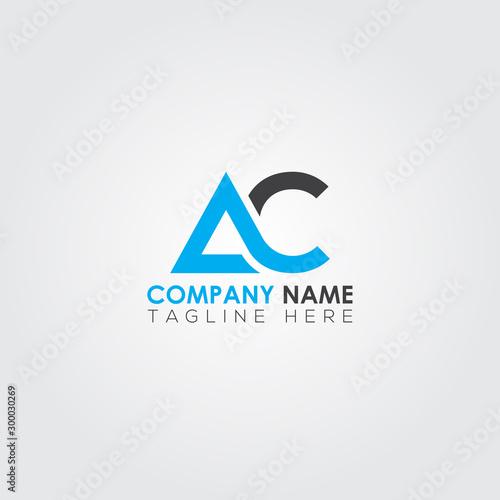 AC combine letter logo vector template. Creative AC font logo. Canvas Print
