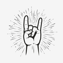 Rock On Gesture Symbol. Heavy Metal Hand Gesture Vector Illustration
