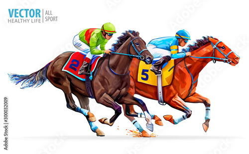 Fototapeta Two racing horses competing with each other. Sport. Champion. Hippodrome. Racetrack. Equestrian. Derby. Speed. Isolated on white background. Vector illustration obraz