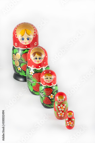Matryoshka dolls ordered from large to small Canvas Print