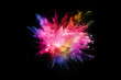 canvas print picture - abstract colored dust explosion on a black background.abstract powder splatted background,Freeze motion of color powder exploding/throwing color powder, multicolored glitter texture.