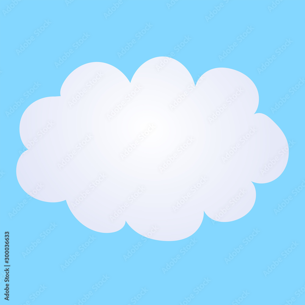 Fototapeta Vector cartoon illustration of a cloud on a blue background.