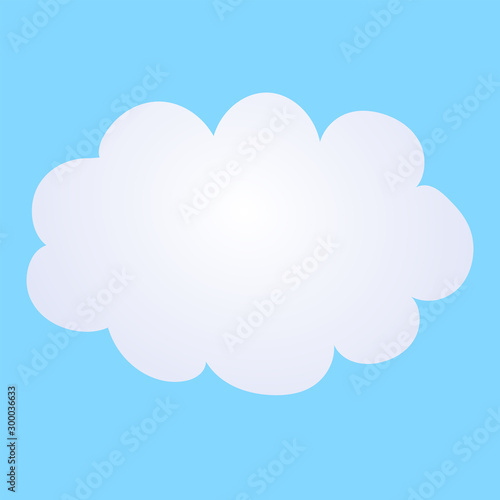 Vector cartoon illustration of a cloud on a blue background.