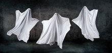 Ghosts In Sheets Dancing And Floating In The Air